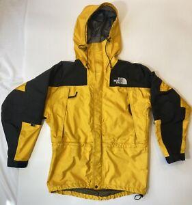 The North Face Gore-Tex Waterproof Jacket Men Medium Yellow Black Hood Vintage