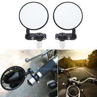 Paar Motorrad Spiegel Lenkerendenspiegel Rückspiegel Rund für 22mm Griff Schwarz