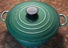 LE CREUSET 4.5 Qt. #24 Cast-Iron Round Dutch Oven in Emerald Green vgc+