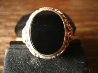 stilvoller Art Deco Herrenring Siegelring 835er Silber Onyx Ring 19 mm RG 60