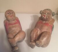 "Vintage Asian Old Chinese Boxwood 9"" Hand-carved Male And Female Figures"
