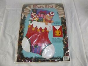NOS Vtg Bucilla Jeweled Felt Christmas Stocking Chock Full of Toys #82913