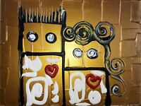 BILD 40cm LOVE HERZ ABSTRAKT ABSTRACT MALEREI GOLD PSY canvas art leinwand gold