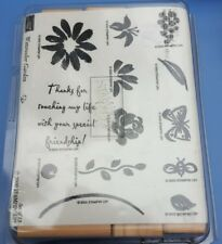 Stampin Up Watercolor Garden Floral Rubber Stamp Set 13 Stamps NEW