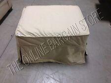 Pottery Barn PB Comfort Sofa Ottoman Footstool Belgian Linen Toast Slipcover