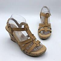 BOC Born Concept BC6503 Women Tan Leather Floral Wedge Sandal Shoe Size 8