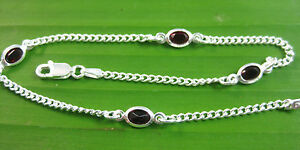 """MADE IN ITALY 925 Sterling Silver Red CZ 2mm curb BRACELET anklet 5.25""""-9.5"""""""