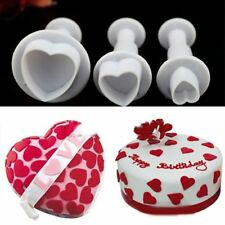 3X Heart Decorating Sugarcraft Cake Tool Mould Plunger Cutter Icing Fondant DIY