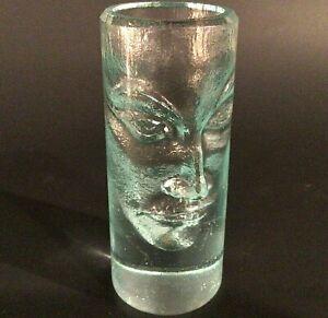 PETER BORKOVICS LIKE SHOT GLASS FACE CARVED FIGURAL GREEN GLASS VINTAGE SIGNED B