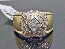 Real 10 k Yellow Gold Men's Ring ban With Diamond /Band, casual / Pinky Ring