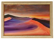 """Red Desert"" Original Oil Painting Framed & Signed Landscape Sahara Sky Clouds"