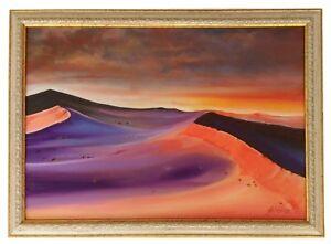 """""""Red Desert"""" Original Oil Painting Framed & Signed Landscape Sahara Sky Clouds"""
