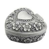 Classic Vintage Antique Heart Shape Jewelry Box Ring Small Trinket Storage G3T2