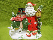 Home Interiors Hand Painted Christmas Santa Snowman Porcelain Candle Holder