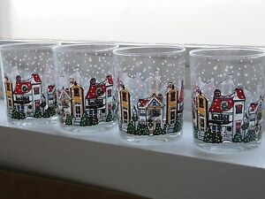 8 CHRISTMAS HOLIDAY OLD FASHION ROCK GLASSES SNOW WINTER HISTORIC VILLAGE