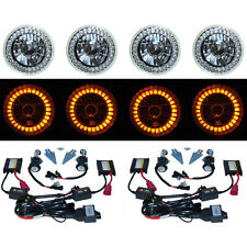 5-3/4 Amber LED Halo Angel Eyes Headlight H4 Headlamp 6000K HID Light Bulbs Set