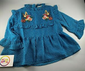 Girls NEXT embroidered blue bird 3/4 sleeve pretty lined shirt blouse 3-12 years
