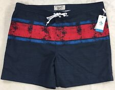 Men's PENGUIN Blue Red Striped Swim Trunks Swimwear 38 NWT Beach Wear $79 NICE