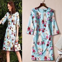Women's Half Sleeve Slim Dress Autumn Dogs Flowers Print Floral Dress Occident
