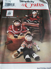 """CRAFT SEWING PATTERN S8516 COW 17 1/2"""" DOLL WITH CLOTHES UNCUT DESIGN BY MADONNA"""