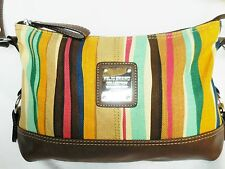 Relic Multi-Color Canvas Striped Handbag Brown Faux Leather Silver-Tone Accents