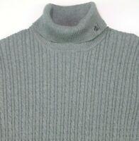 Lauren Ralph Lauren Cotton Blend Gray Sweater Cable Knit Turtleneck XL