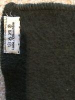 Genuine French Army Vintage Wool Hunter Green/ Dark Green Blanket Heavy Use