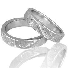 2 Trauringe 925 Silber mit echtem DIAMANT GRAVUR+Etui HERZ Eheringe V01d