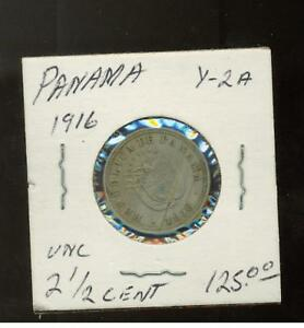 1916 Panama 2 1/2 cent  Coin # Y 2A
