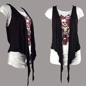 New Skull floral print T shirt plus vest fine jersey top FB303