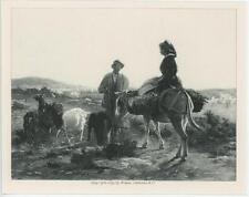ANTIQUE FARM WOMAN DONKEY BASKETS SHEPHERD MEETING PROVENCE MINIATURE ART PRINT