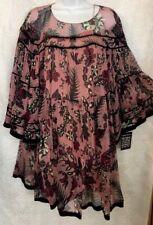 Chloe Dress Pink And Plum Print Silk Full Bell Sleeve Size 36  NWT