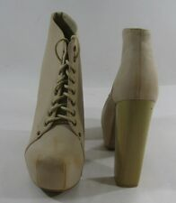 "NUDE 5.5""high heel 1.5""hidden platform round toe lace up ankle boot size  8.5 p"