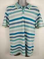 MENS TED BAKER BLUE STRIPED POLO SHIRT TOP SIZE 5