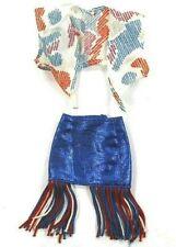 Vintage Barbie Patriotic Cowgirl Sparkle Outfit Blue Skirt R/W/B Tassels Tie Top