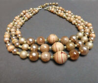 Vintage 3 Strand Beaded Necklace. Japan Faux Pearls. 1960's. Pale Pink. Cream.