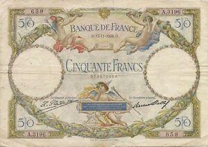 Billet de 50 f. LOM du 13/11/1928 A.3196 date rare dans son jus assez propre