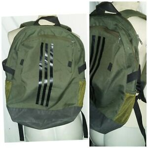 "ADIDAS BACKPACK MEDIUM KHAKI GREEN BAG PADDED 3 COMPARTMENTS ADJUSTABLE 20""X17"""