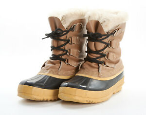 SOREL Winter Boots 8 in Classic Tan Leather Rubber Caribou Pac Winter CANADA