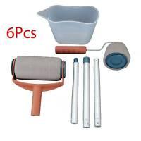 6pcs/Set Paint Pro Roller Brush Set Wall Painting Edge Handle Tool Kits Home
