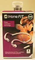 iHome Fit Folding Behind The Neck Earphones With Mic And Remote White/Purple NIB