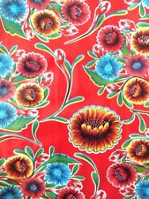 Oil Cloth Yardage Red Flower Fabric Craft Tablecloth FUN BLOOM best seller!