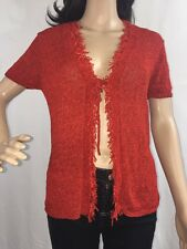Carole Little Knitwear Cardigan Medium Bright Red Spring Sweater Cover Up Top