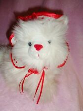 "Cat White Persian Long Hair 9"" stuffed Plush hat red hearts shaw Tb trading Rare"