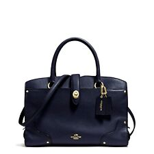 Coach Mercer 30 Satchel Grain Leather Satchel Navy Light Gold NWOT No Dust $395