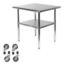 Commercial Stainless Steel Kitchen Food Prep Work Table With 4 Casters 24 X 30