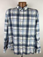 Marine Layer Plaid Shirt Men's Large Blue White Gray Long Sleeve Button Down