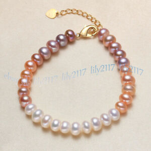Natural 7-8mm White Pink Purple Freshwater Pearl Rondelle Beads Bracelet 7.5''