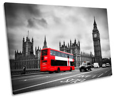 London Red Bus Big Ben City SINGLE CANVAS WALL ART Picture Print