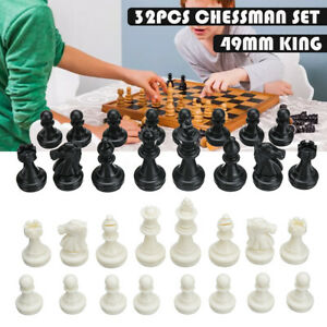 32 PCS Replace Carved Chess Pieces Hand Crafted Set Large 49mm King  #+